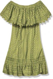 Olivově zelené letní šaty s odhalenými rameny