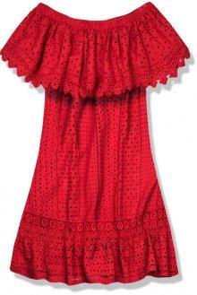 Červené letní šaty s odhalenými rameny