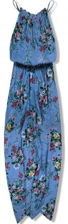 Jeans modré maxi šaty v BOHO stylu