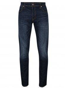 Tmavě modré slim fit džíny s vyšisovaným efektem Jack & Jones Tim