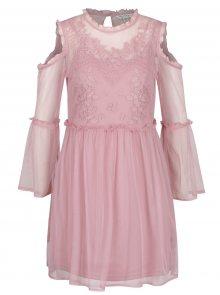Růžové průsvitné minišaty se spodničkou Miss Selfridge