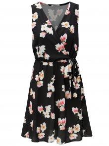 Černé květované šaty s překládaným výstřihem Haily´s Laura