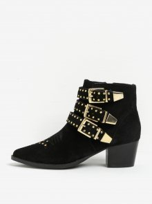 Černé kotníkové semišové boty s detaily ve zlaté barvě Miss KG Tiger