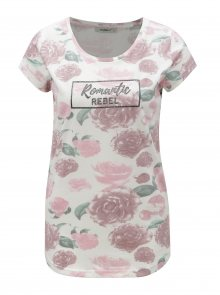 Růžovo-bílé květované tričko s potiskem Haily´s Tilda
