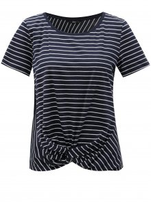 Tmavě modré pruhované tričko s uzlem ONLY Jamie