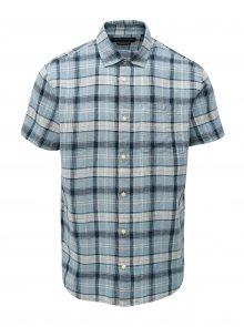 Modrá lněná košile s krátkým rukávem Jack & Jones