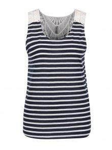 Bílo-modré pruhované tílko s krajkovými detaily na zádech Haily´s Janet Stripe