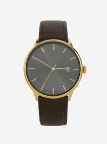 Unisex hodinky ve zlaté barvě s hnědým páskem z veganské kůže CHPO Khorshid Gold