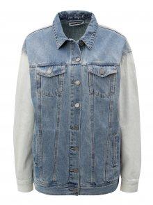 Modro-krémová džínová bunda s kapsami Noisy May Oli