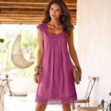 Blancheporte Šaty s macramé purpurová 44