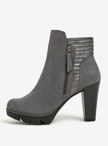 Šedé dámské kotníkové boty na podpatku bugatti Elenor Evo