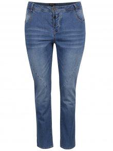 Modré slim džíny s vyšisovaným efektem Ulla Popken