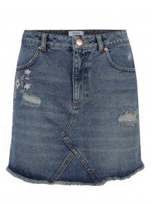 Modrá džínová minisukně s potrhaným efektem a výšivkou Miss Selfridge