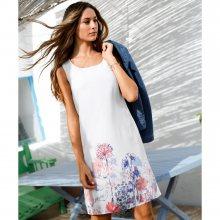 Blancheporte Voálové šaty bez rukávů, s potiskem bílá/modrá/korálová 46