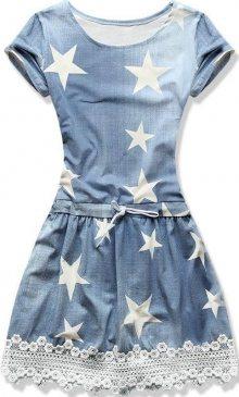 Jeans modré letní šaty s potiskem