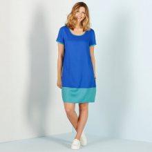 Blancheporte Dvoubarevné šaty modrá/blan.modrá 48