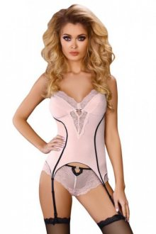 LivCo CORSETTI FASHION - Erotická souprava Caroline L/XL světle růžová