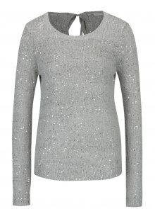 Šedý žíhaný svetr s flitry a mašlí za krkem VILA Minty