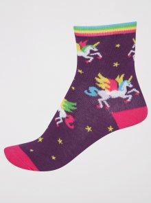 Tmavě fialové holčičí ponožky s jednorožci Sock It to Me Winging It