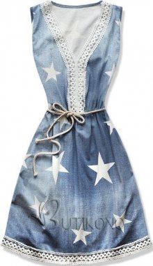 Modré šaty s potiskem hvězd