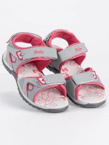 Dívčí šedé sandálky na suchý zip