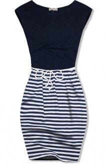 Tmavě modré šaty v námořnickém stylu