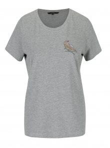 Šedé tričko s výšivkou VERO MODA Clara