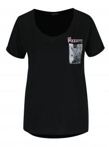 Černé tričko s náprsní kapsou a potiskem TALLY WEiJL