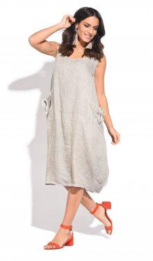 100% Lin Dámské šaty 6738 - ROBE GLADISSE P8796 BEIGE