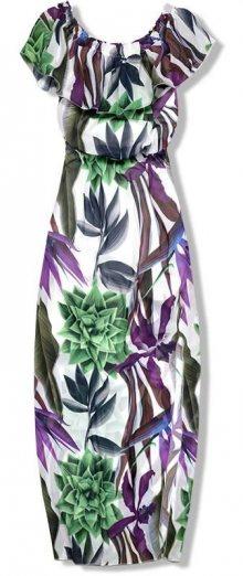 Fialově - zelené maxi šaty s květinovým potiskem