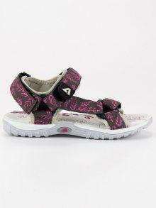 Luxusní šedé dívčí sandálky na suchý zip