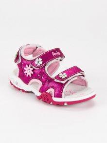 Roztomilé růžové dívčí sandály na suchý zip