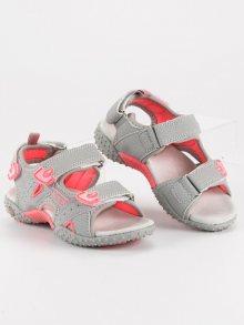 Modní šedé dívčí sandály na suchý zip