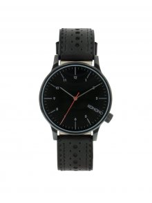 Černé unisex hodinky s koženým páskem Komono Winston Brogue