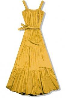 Hořčicově žluté letní maxi šaty na ramínka