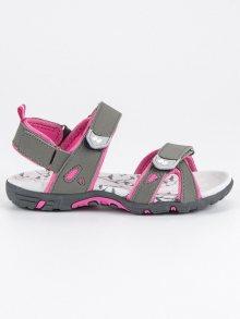 Pohodlné šedo-růžové dětské sandály na suchý zip