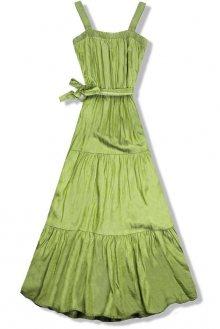 Pistáciově zelené letní maxi šaty na ramínka