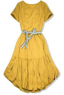 Hořčicově žluté šaty s páskem