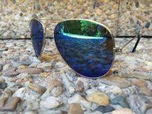 Stříbrné sluneční brýle s modrým sklem Viper® + obal na brýle zdarma