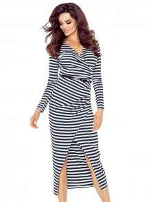 Bergamo Dámské šaty 75-07_gray black stripes shiny
