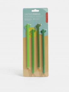Sada čtyř zelených tužek ve tvaru kaktusu Kikkerland