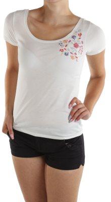 Dámské tričko s květinovou výšivkou Cache Cache