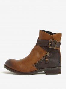 Hnědé dámské kožené kotníkové boty s přezkou Fly London