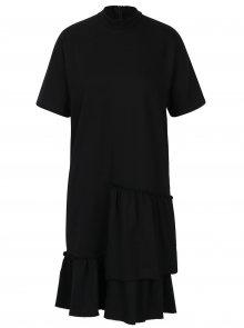 Černé asymetrické šaty s volány Noisy May Haus