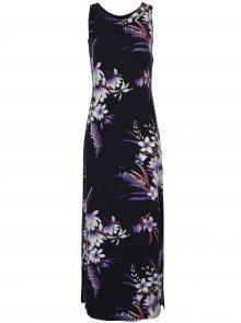 Tmavě modré květované maxišaty bez rukávů M&Co