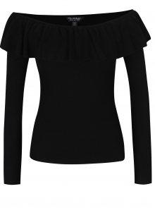 Černý svetr s odhalenými rameny a volánem Miss Selfridge