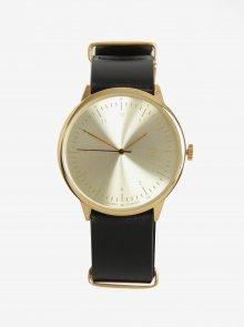 Unisex hodinky ve zlaté barvě s černým koženým páskem CHPO Harold