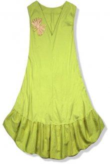 Pistáciově zelené šaty se slaměnou broží