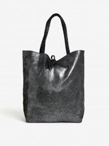 Černý třpytivý kožený shopper ZOOT Glitter
