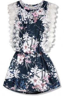 Tmavě modré květinové šaty s krajkou